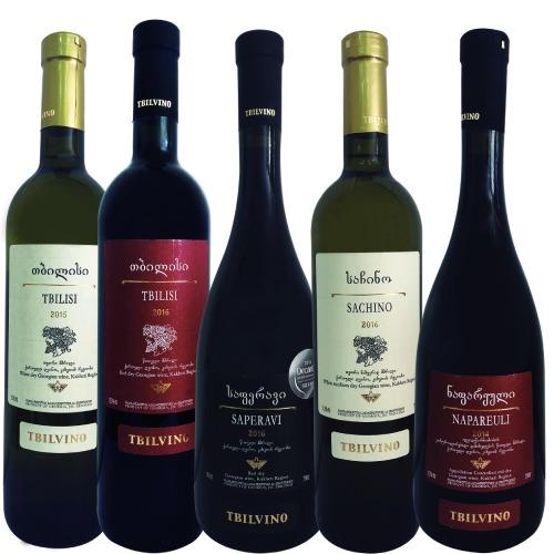 Kit de vinhos 5 garrafas (tbilisi branco e tinto , saperavi , sachino branco , napareuli)