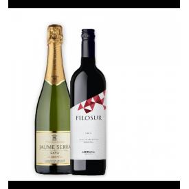 Kit de Vinho e Espumante - Filosur Malbec e Cava espanhola Jaume Serra Brut - 750ml